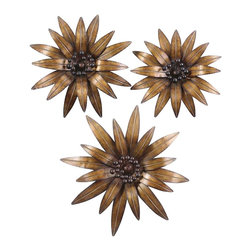 """Uttermost - Uttermost Golden Gazanias (Set of 3), Gold Leaf - This decorative wall art is made of hand forged and hand hammered metal. The heavily antiqued, gold leaf finish is accented by burnished black details.    Designer: Grace Feyock    Dimensions: small- 17 by 17 by 3""""; medium- 18 by 18 by 3""""; large- 24 by 24 by 4""""    Material: metal"""