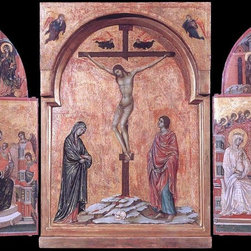 """Duccio Di Buoninsegna Triptych - 16"""" x 24"""" Premium Archival Print - 16"""" x 24"""" Duccio Di Buoninsegna Triptych premium archival print reproduced to meet museum quality standards. Our museum quality archival prints are produced using high-precision print technology for a more accurate reproduction printed on high quality, heavyweight matte presentation paper with fade-resistant, archival inks. Our progressive business model allows us to offer works of art to you at the best wholesale pricing, significantly less than art gallery prices, affordable to all. This line of artwork is produced with extra white border space (if you choose to have it framed, for your framer to work with to frame properly or utilize a larger mat and/or frame).  We present a comprehensive collection of exceptional art reproductions byDuccio Di Buoninsegna."""
