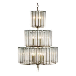 Kathy Kuo Home - Industrial Loft Modern 12 Light Bud Vase Round 3 Tier Chandelier - Medium - Silver and shine come together with this retro-inspired tiered chandelier. Each tier is built from a circle of slender glass bud vases, drawing the eye upward towards your industrial loft's ceiling.