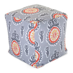 Majestic Home - Outdoor Citrus Michelle Small Cube - Add style and color to your living room or outdoor seating arrangement with Majestic Home Goods Small Cube Ottoman. This cube is perfect for use as a footstool, side table or as extra seating for guests. Woven from outdoor treated polyester, these cubes have up to 1000 hours of U.V. protection and are able to withstand all of natures elements. The beanbag inserts are eco-friendly by using up to 50% recycled polystyrene beads, and the removable zippered slipcovers are conveniently machine-washable.