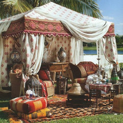 Indian silk tent - It's about that time to bring out the exotic Indian silk tent as Spring is just around the corner! Sean Rush designed this Moroccan-themed tailgate with a look of relaxed elegance.