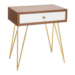Worlds Away - Lathan Hairpin Table - Walnut veneer and white lacquer table with gold leaf hairpin legs and glass knob.