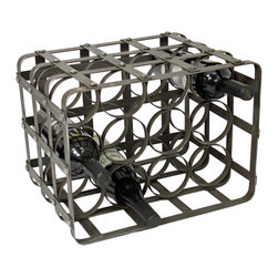 ecWorld - Urban Designs Industrial 12-Bottle Table Top Metal Wine Rack - Display your wine collection in distinct style with this casual-chic wine holder. The simplistic squared frame is constructed of iron and holds twelve bottles of wine in place. A wonderful accent for a contemporary, rustic and transitional inspired decor.