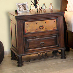 Artisan Home Furniture - Artisan Home Valencia 2 Drawer Nightstand in Multi-Step Lacquer Finish - Selected pine a great value. Multi-step lacquer finish protects wood and adds character. Wood distressing adds old world appeal. Provides additional strength on drawers. Makes sturdy and durable quality cases. Full view and smooth glide on drawers. Great value. The copper is hand hammered and fired just like the old world tradition. The firing gives the copper its many variations and makes each panel a work of art. No two panels will match  but the entire collection blends together. Copper has been protected with a final clear lacquer coating.
