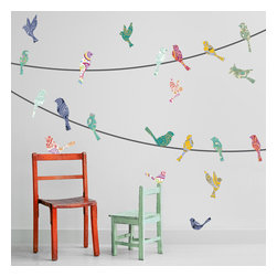 "Patrick Weber - Wall Decal - Paisley Birds on a Wire - According to the all-knowing wikipedia, paisley ""is sometimes called 'Persian pickles' by American traditionalists, especially quilt-makers, or 'Welsh pears' in Welsh textiles as far back as 1888. "" So if you wanted, you could call these Persian Pickle Birds on a Wire wall decals. We like the idea of that. Included: (22) Pattern Birds 5-8 in. wide (6) Wires 3 ft. wide (can be combined to make two 9 ft. wires)"