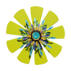 Souvenir Farm, Ltd. - Sunburst Door Wreath Handcrafted from Wood and Reclaimed Metal - Welcome Spring and Summer with this bright and sunny home decor wreath inspired by warm sunny days by the pool or on the beach!
