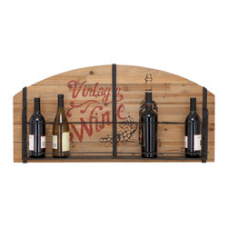 ecWorld - Urban Designs 'Vintage Wine' Wooden Hanging Wine Rack - 8 Bottle Display - Display your wine collection in vintage style with this hanging wine rack. The frame is composed of recycled wood with a metal shelf at the bottom with places to store up to eight bottles of wine. The design is perfect to uplift any wall space or decor.