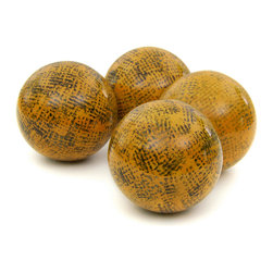 "Oriental Furniture - 4"" Sponged Yellow Porcelain Ball Set - These beautiful yellow porcelain balls have been sponge-painted by hand for a wonderful multi-hue textured effect. Perfect for a seasonal decoration or a thoughtful gift, this set of four would look wonderful on a shelf or mantle, or arranged together in a basket as a creative centerpiece. Woven rattan display basket is not included."