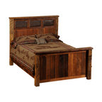 "Fireside Lodge - Fireside Lodge Reclaimed Wood and Leather Bed, King Size - A  reclaimed  wood  bed, king size,  with  an  Urban  Rustic  look,  this  rustic  barnwood  bed  features  a  masculine  headboard  inset  with  high-quality  leather.          Picture  this  rustic  bed  with  a  peacock  teal  leather,  or  faux  alligator  hide  in  place  of  the  dark  chocolate  leather  you  see  in  this  image.  This  option  gives  you  the  freedom  to  design  in  some  extra  color  and  texture,  making  yours  a  truly  one-of-a-kind  piece.          Built  with  reclaimed  red  oak  barnwood  salved  from  barns  or  buildings  constructed  in  the  late  1800s,  the  headboard  and  footboard  feature  parallel  slats  of  reclaimed  rustic  wood  placed  end  to  end.  Artisans  carefully  color  match  each  slat  to  make  sure  that  there  is  an  attractive  variation  of  light  and  dark  barnwood  panels,  each  with  a  natural  patina.  The  headboard  design  includes  inlaid  rectangles  of  leather  or  faux  leather.  A  finish  of  dull  catalyzed  lacquer  preserves  the  durability  and  character  of  the  wood.  Each  handcrafted  piece  of  reclaimed  wood  furniture  is  built  to  last  for  decades,  with  a  limited  lifetime  warranty  against  defects.          For  additional  under-bed  storage,  consider  adding  an  underbed  dresser  with  drawers.                  Dimensions  vary  according  to  size.  (See  chart  below)              Hardwood  bed  rails  provide  support  and  sturdy  construction              T-support  is  standard  in  Queen  and  King  sizes              Several  styles  of  leather  or  faux  leather  to  choose  from.  Click  to  choose  your  color.                Choose  from  antique  oak  or  vintage  cedar  finish  stain  colors              Matching  Nightstand  with  a  leather  inset  top  is  also  available.              Dull  catalyzed  lacquer  finish              Limited  lifetime  guarantee              Purchase  as  a  complete  bed,  as  a  platform  bed,  or  buy  only  the  headboard.              Headboard  height  -  60  inches  tall              Footboard  height  -  35  inches  tall              Free  curbside  shipping.                Made-to-order;  Allow  4-6  weeks  for  shipping                      Complete  Standard  Bed  -  Leather  Inset  Barnwood  Bed                                    Size                      Model                      Dimensions                      Weight                      Price                                      King                      B10014                      83Wx91Lx60H                      310                      2229.00                                      California  King                      B10014-CK                      77Wx96Lx60H                      295                      2229.00                                      Queen                      B10044                      65Wx91Lx61H                      260                      1969.00                                      Full  (Double)                      B10074                      59Wx86Lx60H                      230                      1909.00                                      Twin  (Single)                      B10104                      44Wx86Lx60H                      190                      1719.00                                               Complete  Platform  Bed  -  (mattress  rests  on  a  raised  barnwood  platform  -  no  footboard)                                    Size                      Model                      Dimenisons                      Weight                      Price                                      King                      B10014-PF                      83Wx89Lx53H                      510                      2459.00                                      California  King                      B10014-CK-PF                      77Wx94Lx55H                      495                      2459.00                                      Queen                      B10044-PF                      65Wx89Lx53H                      430                      2249.00                                      Full  (Double)                      B10074-PF                      59Wx84Lx53H                      370                      2139.00                                      Twin  (Single)                      B10104-PF                      44Wx84Lx53H                      320                      2009.00                                               Headboard  Only  (Includes  Rails)                                    Size                      Model                      Dimensions                      Weight                      Price                                      King  Headboard                      B10024                      83""Wx60H                      185                      1229.00                                      California  King  Headboard                      B10024-CK                      77""Wx60H                      180                      1229.00                                      Queen  Headboard                      B10054                      65""Wx60H                      165                      1079.00                                      Full  (Double)  Headboard                      B10084                      59""Wx60""H                      150                      1059.00                                      Twin  (Single)  Headboard                      B10114                      44Wx60H                      130                      949.00"