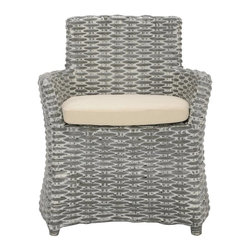 Safavieh - Cleo Accent Chair - Safavieh reinterprets the classic wicker chair for transitional interiors with the modern lines of the woven rattan Cleo Arm Chair. The grey white wash color lends a new fashion look to a living room, bedroom or den while this chair's cotton upholstered seat cushion and comfy design recall all the charms of wicker.