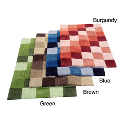 None - Tiles Tufted Cotton 2-piece Bath Rug Set - Dress any bathroom floor with the luxurious 2-piece tufted bath rug set in multi-tonal checks and tiles. Made of 100-percent cotton,this set is available in your choice of blue,green,brown or burgundy finish.