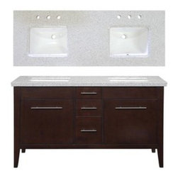 allen + roth Newfield 60-in x 22-in Espresso Double Sink Bathroom Vanity - Newfield 60-in x 22-in Espresso Double Sink Bathroom Vanity with Granite Top