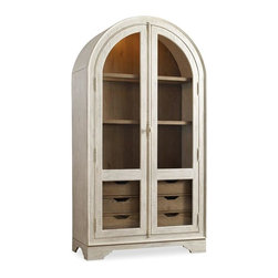 Hooker Furniture - Sunset Point Display Cabinet - Hatteras White - White glove, in-home delivery included!  A dash of chic, an air of sophistication and a splash of color make Sunset Point as stunning as it is unforgettable.  Sweeping scale and soft organic cathedral white oak veneers come together in a casual cottage waterside furniture collection that is equally at home for lakeside or seaside.  Comes in Hatteras White or St. John's Blue exterior finish.  Sea Oat interior finish.  Two glass doors, two adjustable wood-framed glass shelves, six drawers, one touch controlled light activated by the top right door hinge.