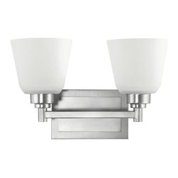BUILDER - BUILDER 5149NI Berwick Transitional Wall Sconce - Smooth, classic lines, a cool Brushed Nickel Finish, and White Etched Glass embody the classic Kichler(R) Berwick(TM) Collection. Mildly contemporary, the streamlined design of Berwick easily lends itself to today's spectrum of modern and traditional furnishings. It's a transitional style that coolly integrates everywhere. It uses 2 100 watt (max) bulb. It may be installed with the glass up or down. It is UL listed for damp locations. It is Hybrid (9-13W CFL) compatible.