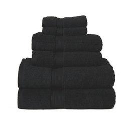 Luxurious Egyptian Cotton 900 Gram 6-Piece Black Towel Set - Luxurious 900GSM 6-Piece Black Towel Set