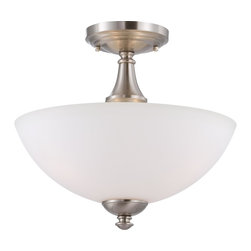 Nuvo Lighting - Nuvo Lighting 60/5044 Patton Three Light Semi Flush Ceiling Fixture Finished In - Patton - 3 Light Semi Flush w/ Frosted Glass
