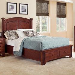 Vaughan-Bassett - Hamilton Franklin Storage Panel Bed - Features: -Hamilton Franklin collection. -Veneer and hardwood solid construction. -Queen, King: 2 drawer. -Rite-trac drawer glide with stop. -Casual lifestyle. -Made in the USA.