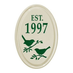 White Hall Bird Silhouette Ceramic Oval Petite Wall Vertical Address Plaque - The White Hall Bird Silhouette Ceramic Oval Petite Wall Vertical Address Plaque is a great way to dress up any outdoor decor. Use this durable ceramic piece in a variety of ways. It features 2 lines for text and numerals as well as a charming bird graphic. Choose from a variety of available color options. It installs easily and is highly visible.About Whitehall ProductsWhitehall Products are known as the world's leading manufacturer of weathervanes and is equally as respected for their high quality personalized home wall plaques. They also offer a wide variety of mailboxes, garden accents, hose holders, birdbaths, bird feeders, sundials, and more. Each offers an original design and is hand cast for the highest quality product available. Based in Montague Michigan, Whitehall has been producing these popular products for over 65 years.