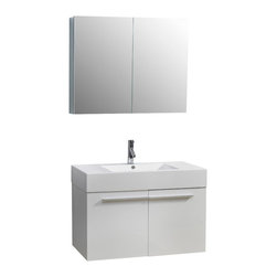 Virtu USA - 36in. Midori Single Sink Bathroom Vanity - Gloss White - This ultra-attractive vanity is designed to be an asset in any bathroom. This vanity features many plenty of storage in the form of two soft closing doors on Blum hinges and an easy clean basin for a pleasant and convenient bathroom experience in both the practical sense, as well as aesthetics. This vanity was designed with a smaller bathroom in mind, while still maintaining a sense of elegance.