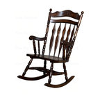 Coaster - Traditional Wood Rocking Chair in Walnut Fini - Carved floral embellishments. Flat back slats. Arched top rail. Delicate carving detail for added charm. 24.5 in. L x 36.5 in. W x 43.5 in. H. Warranty