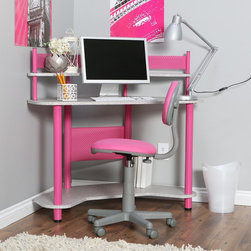 Calico Designs - Studio Designs Study Corner Desk - Pink - 55122 PINK - Shop for Childrens Desks from Hayneedle.com! Encourage them to study with the fun vibrant colors of the Studio Designs Study Corner Desk - Pink. Built from durable metal and laminate this chic corner desk is ideal for their bedroom. The space-saving design is super convenient for tight spaces or those already claimed by the clutter of teens and tweens. With upper and lower shelves for storage plus a main area for a laptop notebooks or other supplies that suit their interests this desk provides a place all their own to encourage productivity and focus. Let them personalize the space with fun baubles and added storage (sold separately). Chair not included.About Calico DesignsFounded in 1985 under the name Studio RTA Calico Designs began producing affordably priced drafting tables and other pieces for use by artists and designers. They have since evolved and expanded their product offerings to include art sets easels craft tables and kids desks. Small-space compatibility is a top priority of the Company as are features that provide durability stability and the latest styles all while offering outstanding value. Calico looks forward to the future and to producing progressively innovative designs.