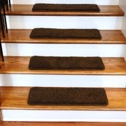 """Dean Flooring Company - Dean Premium Serged DIY Carpet Stair Treads 27"""" x 9"""" Timberline 70 Oz PLUSH (13) - Dean Premium Serged DIY Carpet Stair Treads 27"""" x 9"""" Timberline 70 Oz PLUSH (13) with Double-Sided Tape Included : Quality, Stylish Carpet Stair Treads by Dean Flooring Company. Extend the life of your high traffic hardwood stairs. Reduce slips/increase traction (treads must be properly secured to your stairs). Cut down on track-in dirt. Great for pets and pet owners. Luxuriously soft 70 ounce stain and spill resistant PLUSH carpeting. Set includes 13 carpet stair treads PLUS one roll of double-sided carpet tape for easy, do-it-yourself installation. Edges of each tread are finished (serged) with attractive color matching yarn No bulky fastening strips. You may remove your treads for cleaning and re-attach them when you are done. Add a touch of warmth and style to your stairs today with new stair treads from Dean Flooring Company!"""