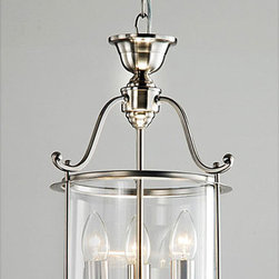 None - Indoor 3-light Antique Nickel Chandelier - The elegant lines of this beautiful nickel chandelier will attract glowing praise from visitors to your home. With clear glass panes and finished nickel accents,this piece brings undeniable charm to your living space and is hardwired for easy use.