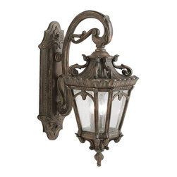 """KICHLER - KICHLER 9358LD Tournai Traditional European Outdoor Wall Sconce - With its heavy textures, dark tones, and fine attention to detail, the Tournai Collection stands out from other outdoor fixtures. Each piece is hand-made from cast aluminum, offering quality construction that is sure to withstand even the harshest of weather conditions. Our exclusive Londonderry finish and clear seedy glass panels give the piece its unique, aged look. If you want the classic profile of the wall lantern, this Tournai outdoor lamp deserves your attention. Its 3-light design uses 60-watt (max.) bulbs to deliver lighting ideal for everyday use. Although it measures 29"""" high, the fixture is provided with variable height mounting hardware. Junction Box 6.5""""-21.5"""". It is U.L. listed for wet locations."""