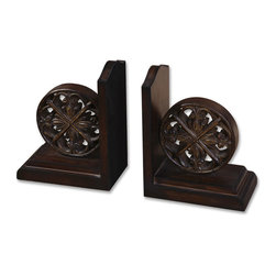 Uttermost - Chakra Distressed Bookends, Set/2 - Whether you have paperbacks or scholarly tomes, it's time to take the bricks back to the shed and buy yourself a proper set of bookends for your collection of beloved works. And if they're paperbacks they'll just look better.
