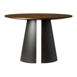 Fuego Table - Starburst Wood top table supported on a hand forged bisected elliptical steel cone base.