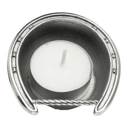 Arthur Court - Horseshoe Tea Light - This lucky tea light candle is elegantly crafted from gleaming aluminum into a regal horseshoe shape. This metal horseshoe candleholder will catch the light of the votive you place in it, adding elegance and stateliness to your side table or bathroom counter.