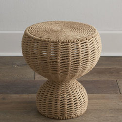 "Horchow - Mozelle Rope Table - Add an organic vibe to your decor with this side table that has a shape as unique as the material it is made from. Handcrafted of iron framework and handwoven natural jute braided rope. 16.5""Dia. x 19""T. Imported. Boxed weight, approximately 35 lbs..."