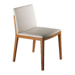Poltrona Frau - Poltrona Frau Beatrice Dining Chair - The Beatrice Dining Chair frame is built in solid oak,the back panel isa curved multilayer beech and an oak veneer. The seat is supported byelastic webbing and padded withpolyurethane foam. Upholstered in leather with wood frame in Natural Oak Finish or Oak Stained Wenge. Available as a Side Chair or an Armchair. Price includes delivery to the USA. Manufactured by Poltrona Frau. Designed in 2008.