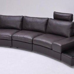 Overnice Curved Sectional Sofa in Leather - Full leather sectional sofa in espresso, black or white. This modern single sofa has a very unique design with black oak toped end tables on both sides built into the platform of this exceptional sectional. With a modern look and spacious seating area, this sleek and functional sofa fits elegantly almost in any space.