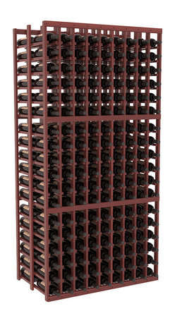 Wine Racks America - 9 Column Double Deep Cellar in Redwood, Cherry + Satin Finish - This beautiful and highly efficient 9 column wine rack kit only takes about 3 feet of wall space but holds 36 bottles per column. That is a total of 324 bottles (or 27 cases) in one rack! Double deep storage is ideal for restaurants, bars and private collectors as we stand behind our products and their quality. Those are guarantees.