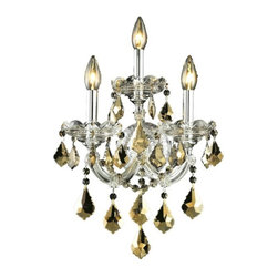 "PWG Lighting / Lighting By Pecaso - Karla 3-Light 12"" Crystal Wall Sconce 2380W3C-GT-RC - Karla was an Empress from 1740 to 1780 in the waning days of the Baroque period. The Baroque love of embellishment is highlighted in the elaborate crystal swags and drops that fully dress these fixtures in a look that is pure luxury. From the gold or chrome finish to the fully lavish crystal dressing, this Karla collection represents opulent sophistication."