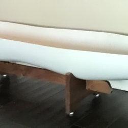 The Peanut Planter - Mid Century Modern Style Fiberglass Planter resting on a Walnut Stained Hardwood Base