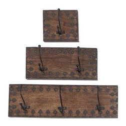 Benzara - Dublin Heavy Duty Designer Wall Hook Set - Dublin Heavy Duty Designer Wall Hook Set. The wood metal hook Set of three wood plagues are crafted with the combination of metal and premium grade wood. The wood plagues come in three different sizes- 6W x 3D x 6H(6 Inches), 12Wx 3D x 6H(12 Inches), 18Wx 3D x 6H(18 Inches). Some assembly may be required.