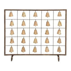 """Benzara - Bell Fireplace Screen Assemble Design with Multiple Bells - Bell Fireplace Screen Assemble Design with Multiple Bells. You can spend your romantic evenings and enjoy your time with your loved ones with the soothing sound in the background with this metal Bell Fireplace Screen Assemble design with Multiple Bells. It comes with following dimensions: 38""""W x 9""""D x 34""""H. 3""""W x 3""""D x 4""""H."""