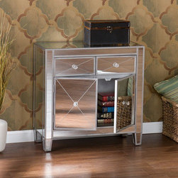Wildon Home � - Hamilton 2 Drawer Cabinet - Perfect for any room, this glamorous mirrored cabinet is a perfect compliment for your home. With its mirrored finish, it adapts to any surroundings without overpowering yet, catches your eye with its unique presence. The practical size and function works as well in the living room as it does bedside. Finishing the piece off is a combination of two drawers and one large double door storage cabinet with faux crystal knobs. Features: -Painted Silver wood trim.-Two drawers.-One large double door storage cabinet.-Faux crystal knobs.-Mirrored finish.-Collection: Hamilton.-Distressed: No.Dimensions: -Drawer: 5'' H x 10.5'' W x 10.25'' D.-Cabinet: 14.5'' H x 27'' W x 11'' D.-Area under table: 3.75'' H x 23.5'' W x 8.25'' D.-Overall: 28'' H x 28'' W x 13'' D, 61 lbs.-Overall Product Weight: 61 lbs.