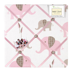 Sweet Jojo Designs - Pink Elephant Fabric Memo Board by Sweet Jojo Designs - The Pink Elephant Fabric Memo Board by Sweet Jojo Designs, along with the  bedding accessories.