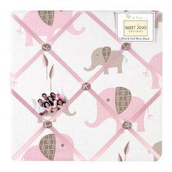 Sweet Jojo Designs - Pink Elephant Fabric Memo Board by Sweet Jojo Designs - The Pink Elephant Fabric Memo Board by Sweet Jojo Designs, along with the bedding accessories.