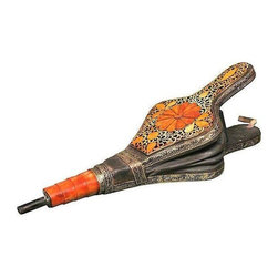 Pre-owned Handmade Moroccan Berber Bellow - Light a fire with this handmade Moroccan Berber bellow with a combination of engraved metal designs, leather and inlaid Berber amber. This piece is red hot!