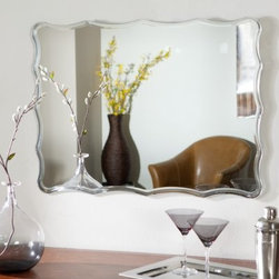 Frameless Ridge Wall Mirror - 23.5W x 31.5H in. - Liven up any room of your home with the Frameless Ridge Wall Mirror. This gorgeous rectangular mirror is sure to add elegance to any wall in your home. Constructed of metal and strong 3/16 glass it features V-grooved cut designs. Mounting hardware is included with the mirror. Weighs 14 pounds. Dimensions: 31.5L x 23.5W x .5D inches.