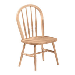 International Concepts - International Concepts Unfinished Windsor Chair - International Concepts - Kids Chairs - 1C3114 - This Windsor chair from International Concepts ships fully assembled.  No assembly is required.  It is composed of solid wood and comes unfinished ready for your own custom finish.