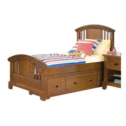 American Woodcrafters - American Woodcrafters Bradford Full Panel Bed with Underbed Storage in Rich Cher - A perfect fit for your childrens room, this Bradford Full Panel Bed with Underbed Storage by American Woodcraftersmakes for a fun, practical, and beautiful addition. Featuring the captains pedestal as the under bed storage unit with three spacious drawers, you will be able to fit all your extra blankets, clothes, games or any other bedroom accessory. Arched crown rails with open slats with cherry veneer panels give this already beautiful piece and even more stunning look. This bed is available in twin and full sizes. This bed is available in Twin size also.