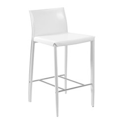 Euro Style - White Fully Upholstered Leather Counter Stool - Positively posh, this pair of sleek counter stools is covered in leather from top to bottom, including the legs.  The footrest is made of chrome.  A fresh, updated look for your kitchen, these stools have a seat height of 26 inches.  Whether you need a set or multiples, these counter stools will add upscale appeal to any space.  Classic structuring is accented with a chrome stretcher. * Set of 2Seat back and legs covered completely in leather. Chromed foot restSold in pairs only17 in. W x 20 in. D x 34 in. HSeat Height: 26 in.