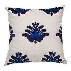 Ankasa - Scattered Kilm Pillow - Blues and white Kilm Pillow with Sunbrella linen with scattered motifs