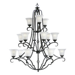 Progress Lighting - Progress Lighting P4268 Melbourne Fifteen-Light Three-Tier Chandelier - Fifteen light, three tier chandelier in a deep Espresso finish featuring a superb blend of black and brown tones. Fixture offers a stunning contrast of metalwork with sculpted, etched watermark glass shades.