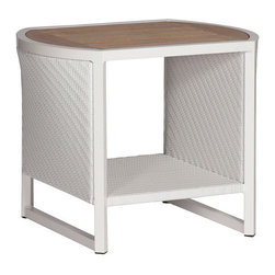 Frontgate - Dolphin Outdoor Side Table - Crafted with a distinctive mix of materials and nautical details. Sides are woven in high-quality; resin wicker, woven in a fine herringbone pattern. All-weather extruded aluminum frame. Oval-shaped, slatted teak tabletop will weather to a graceful gray patina, if left untreated. The Dolphin End Table by Summer Classics&reg is designed in the spirit of nautical adventures, with rounded edges and teak details. Equipped with a slatted and oval-shaped teak top. Table sides are woven in high-quality; white or mahogany resin wicker, woven in a fine herringbone pattern. Frame is crafted from all-weather extruded aluminum. Part of the Dolphin Collection by Summer Classics&reg.  .  .  .  . Note: Due to the custom-made nature of the cushions, any fabric changes or cancellations made to the Dolphin Collection by Summer Classics&reg must be made within 24 hours of ordering.